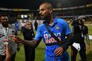 Shikhar Dhawan injured his shoulder during the third ODI, India v Australia, 3rd ODI, Bengaluru, January 19, 2020