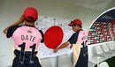 Neel Date and Masato Morita hang up a national flag with personal messages in the dugout, India v Japan, Under-19 World Cup 2020, Bloemfontein, January 21, 2020