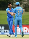 Ravi Bishnoi and Priyam Garg celebrate a wicket, India v Japan, Under-19 World Cup 2020, Bloemfontein, January 21, 2020