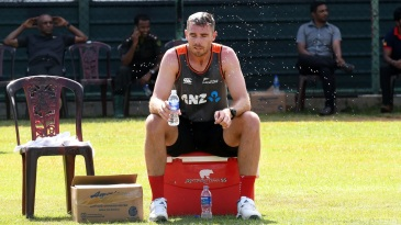 Tim Southee cools off after a training session