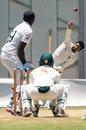 Sikandar Raza bowls to Angelo Mathews, Zimbabwe v Sri Lanka, 1st Test, 4th Day, Harare, January 22, 2020
