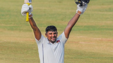 Sarfaraz Khan is ecstatic after getting to his triple century
