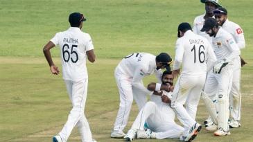 Lahiru Kumara is ecstatic after taking a wicket