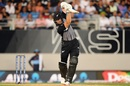 Martin Guptill punches down the ground, New Zealand v India, 1st T20I, Auckland, January 24, 2019