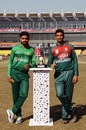 Captains Babar Azam and Mahmudullah pose with the trophy, Pakistan v Bangladesh, 1st T20I, Lahore, January 23, 2020
