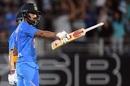 KL Rahul celebrates his half-century, New Zealand v India, 1st T20I, Auckland, January 24, 2020