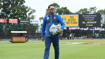 South Africa coach Mark Boucher surveys the scene
