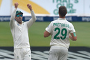 Faf du Plessis and Dwaine Pretorius celebrate the wicket of Zak Crawley, South Africa v England, 4th Test, Day 3, Johannesburg, January 26, 2020