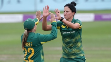 Marizanne Kapp and Mignon du Preez celebrate a wicket