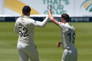 Chris Woakes celebrates a wicket with Dom Sibley, South Africa v England, 4th Test, Johannesburg, 4th day, January 27, 2020