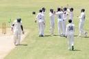 Lahiru Kumara celebrates the wicket of Prince Masvaure, Zimbabwe v Sri Lanka, 2nd Test, Harare, 1st day, January 27, 2020