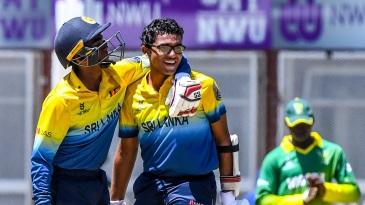 Ravindu Rasantha celebrates his century