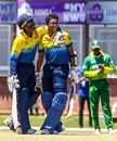 Ravindu Rasantha celebrates his century, Sri Lanka v Nigeria, Plate Quarter-final 1, Under-19 World Cup, Potchefstroom, January 27, 2020