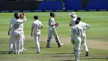 Faf du Plessis walks off after his dismissal to Ben Stokes