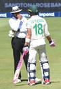 Faf du Plessis talks to Umpire Joel Wilson, South Africa v England, 4th Test, Johannesburg, 4th day, January 27, 2020