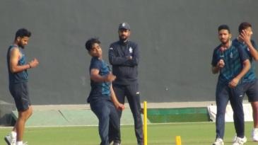 Madhya Pradesh's Ravi Yadav in action at the nets