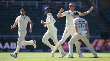 Stuart Broad celebrates as England close in