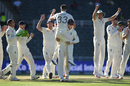 Mark Wood is lifted aloft after taking his final wicket, South Africa v England, 4th Test, Johannesburg, 4th day, January 27, 2020