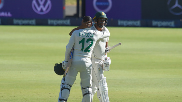 Vernon Philander is embraced by Quinton de Kock after his final Test innings