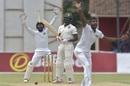 Donald Tiripano looks on as Lasith Embuldeniya and Niroshan Dickwella appeal, Zimbabwe v Sri Lanka, 2nd Test, Harare, 2nd day, January 28, 2020
