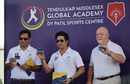 Vijay Patil, Sachin Tendulkar and Mike Gatting at the Tendulkar Middlesex Global Academy, Navi Mumbai, January 28, 2020