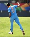 Kartik Tyagi is pumped up after picking up a wicket, Australia v India, Under-19 World Cup 2020, Super League quarter-final, Potchefstroom, January 28, 2020