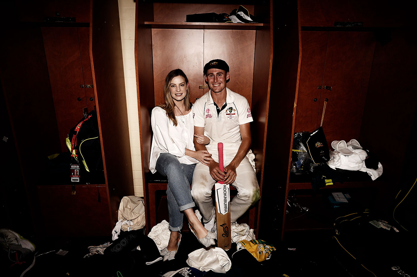 Labuschagne with his wife Rebekah in the SCG dressing room