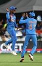 Sanju Samson and Shreyas Iyer celebrate a wicket, New Zealand v India, 3rd T20I, Hamilton, January 29, 2020