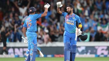 KL Rahul and Rohit Sharma celebrate India's thrilling win