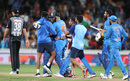 Rohit Sharma is mobbed after clinching the win, New Zealand v India, 3rd T20I, Hamilton, January 29, 2020