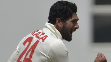 Sikandar Raza is pumped up after taking a wicket