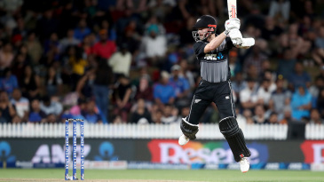 Kane Williamson is airborne during his quickfire innings