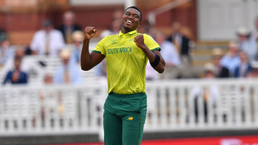 Lungi Ngidi celebrates a wicket during the 2019 World Cup