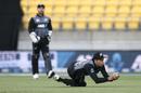 Mitchell Santner took a tricky catch to dismiss Sanju Samson, New Zealand v India, 4th T20I, Wellington, January 30, 2020