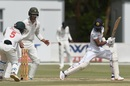 Oshada Fernando survives a stumping attempt by Regis Chakabva, Zimbabwe v Sri Lanka, 2nd Test, Harare, 5th day, January 31, 2020