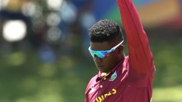 Ashmead Nedd celebrates a wicket