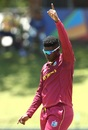 Ashmead Nedd celebrates a wicket, South Africa v West Indies, Under-19 World Cup, Potchefstroom, February 1, 2020