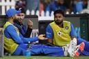 Rishabh Pant listens in as Virat Kohli and Kane Williamson have a chat, New Zealand v India, 5th T20I, Mount Maunganui, February 2, 2020