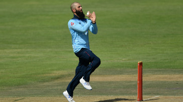 Moeen Ali bowls during the practice match between England and Cricket South Africa Invitation XI
