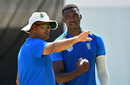Charl Langeveldt talks to Lungi Ngidi at South Africa training, Cape Town, February 3, 2020