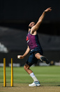 Saqib Mahmood strains in his delivery stride, England training, Newlands, February 3, 2020