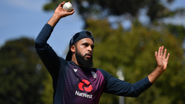 Adil Rashid bowls in training