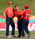 Lewis Goldsworthy is congratulated by team-mates after claiming his fifth wicket of the match, England v Sri Lanka, ICC U19 Cricket World Cup Plate Final, Benoni, February 03, 2020