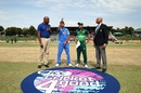 Priyam Garg tosses the coin as Rohail Nazir looks on, India v Pakistan, U-19 World Cup semi-final, Potchefstroom, February 4, 2020