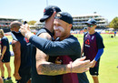 Matt Parkinson embraces Ben Stokes after receiving his cap, South Africa v England, 1st ODI, Cape Town, February 04, 2020