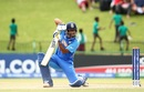 Divyaansh Saxena holds his pose after driving to the point boundary, India v Pakistan, U-19 World Cup semi-final, Potchefstroom, February 4, 2020