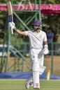 KV Siddharth raises his bat, Karnataka v Madhya Pradesh, Ranji Trophy 2019-20, Shimoga, February 4, 2020