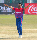 Karan KC celebrates after taking a wicket, Nepal v Oman, ICC Cricket World Cup League Two tri-series, Kirtipur, February 5, 2020
