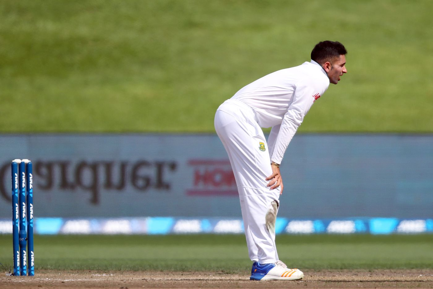 Keshav Maharaj of South Africa reacts after bowling