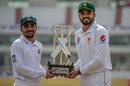 Mominul Haque and Azhar Ali pose with the trophy, Pakistan v Bangladesh, Rawalpindi, February 6, 2020
